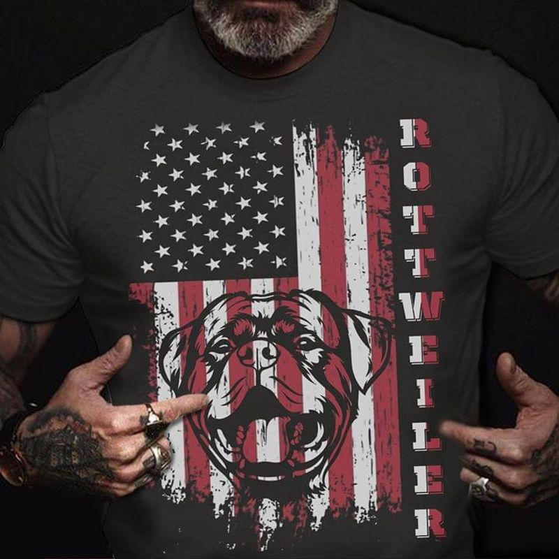 Rottweiler 4Th Of July American Flag The Thin Red Line Black T Shirt Men And Women S-6XL Cotton