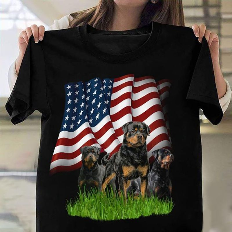 Rottweiler Dogs America Flag Independence Day Design For Dogs Lover Black T Shirt Men And Women S-6XL Cotton