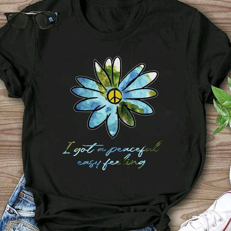 Run Away And Live In The Woods Hippie Daisy I Got A Peaceful Easy Feeling Black T Shirt Men And Women S-6XL Cotton