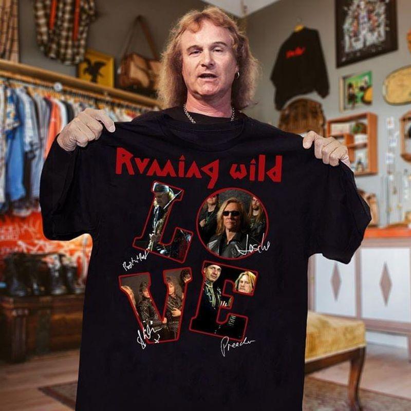 Running Wild Love Characters Signature Black T Shirt Men And Women S-6xl Cotton