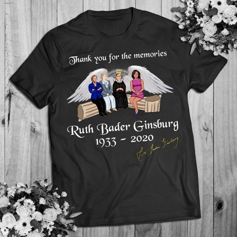 Ruth Bader Ginsburg Rbg Signed Thank For Memories Rbg Power Woman Lawyer Women's Right Black T Shirt Men And Women S-6XL Cotton