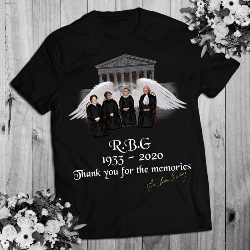 Ruth Bader Ginsgurg Signature Rbg Thank For Memories Rbg Women's Right Feminist Black T Shirt Men And Women S-6XL Cotton