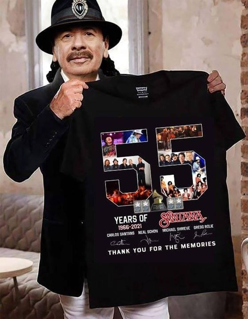 Santana 55 Years Of 1966-2021 Thank You For Thee Memories Signature Black T Shirt Men/ Woman S-6XL Cotton