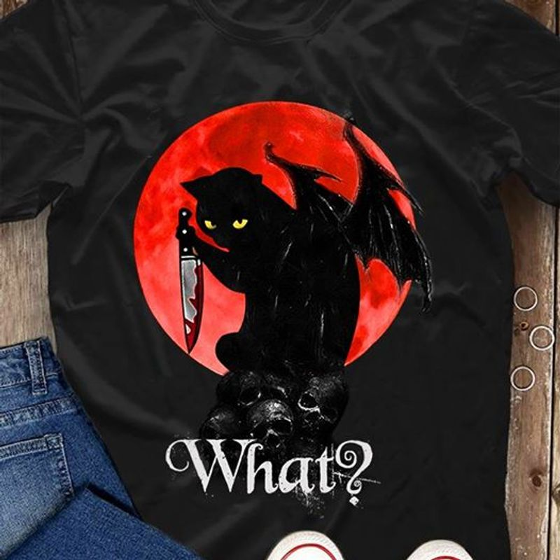 Satan Cat With A Knife What ? T Shirt Black
