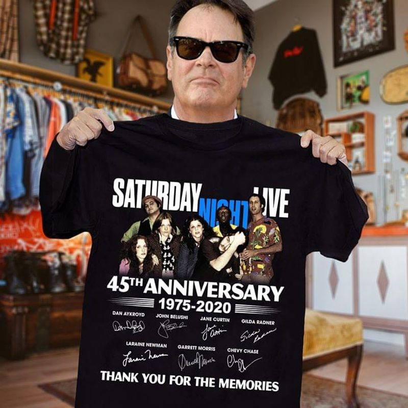 Saturday Night Live Fans 45th Anniversary Thank You For The Memories Signature Black T Shirt Men And Women S-6xl Cotton