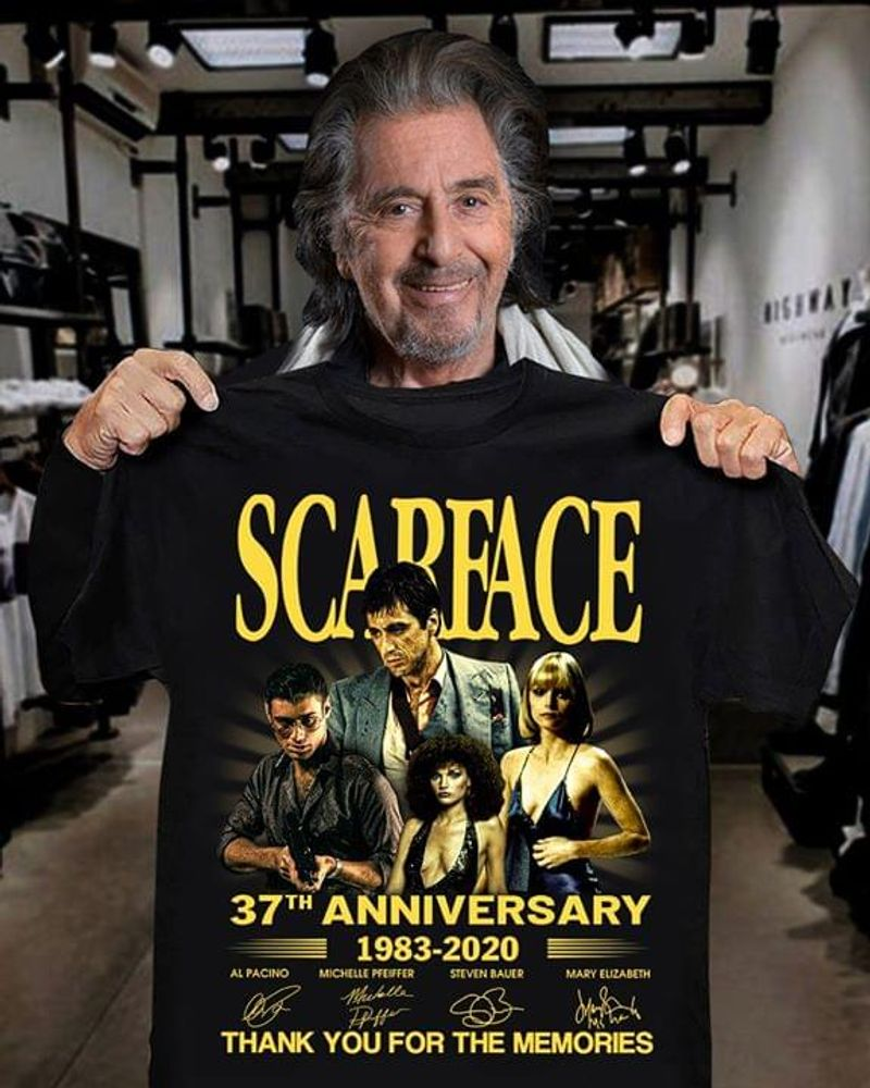 Scarface 37th Anniversary Thank You For The Memories Signatures T Shirt Men/ Woman S-6XL Cotton