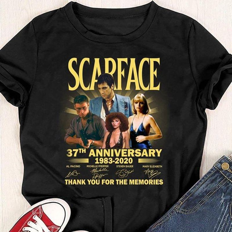 Scarface Fans 37th Anniversary Thank You For The Memories Signature Black T Shirt Men/ Woman S-6XL Cotton
