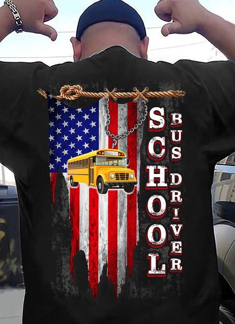 School Bus Driver Flag T Shirt Black A8