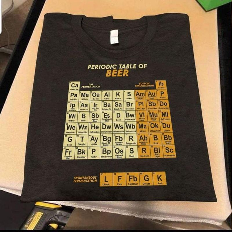 Science Periodic Table Of Beer T-shirt Funny Beer Tee Chemistry Geek  Science Humor Black T Shirt Men And Women S-6XL Cotton