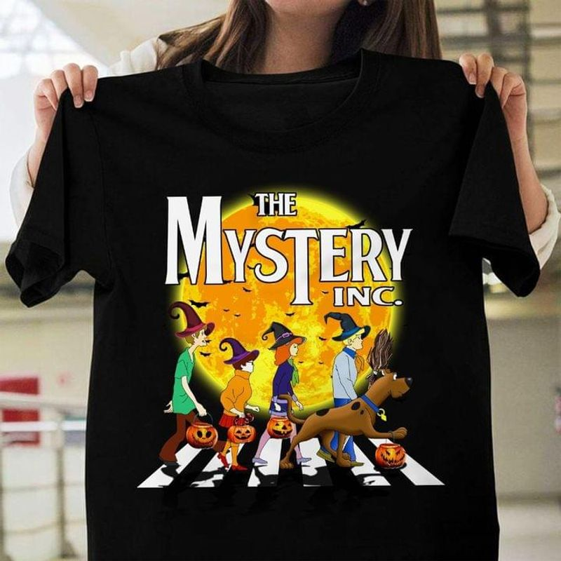 Scooby Doo Tee The Mystery Inc Shirt Scooby Doo And Friends Parody Witch Walking Halloween Black T Shirt Men And Women S-6XL Cotton