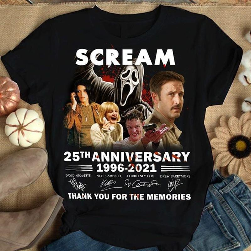 Scream 25th Anniversary 1996-2021 Scream Signature Best Halloween Gift Black T Shirt Men And Women S-6XL Cotton