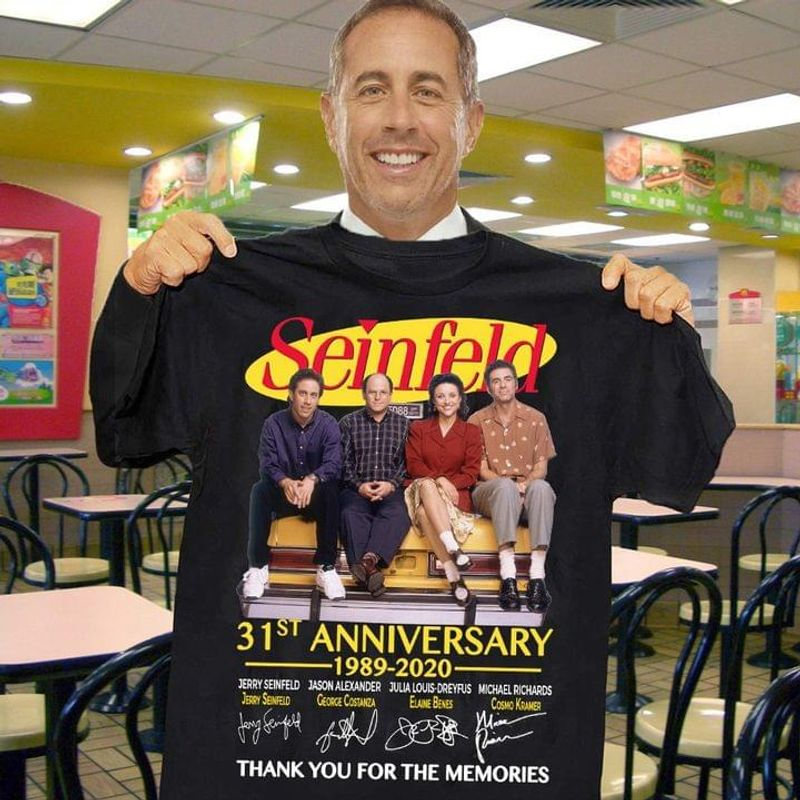 Seinfeld Lovers 31st Anniversary 1989 2020 Characters Signature Gift For Fans Black T Shirt Men And Women S-6XL Cotton