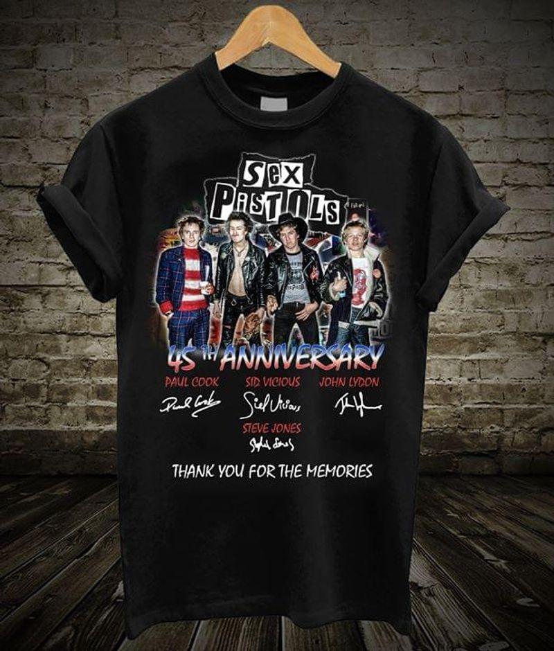Sex Pistols 45th Anniversary Signature Thank Memories Black T Shirt Men And Women S-6XL Cotton