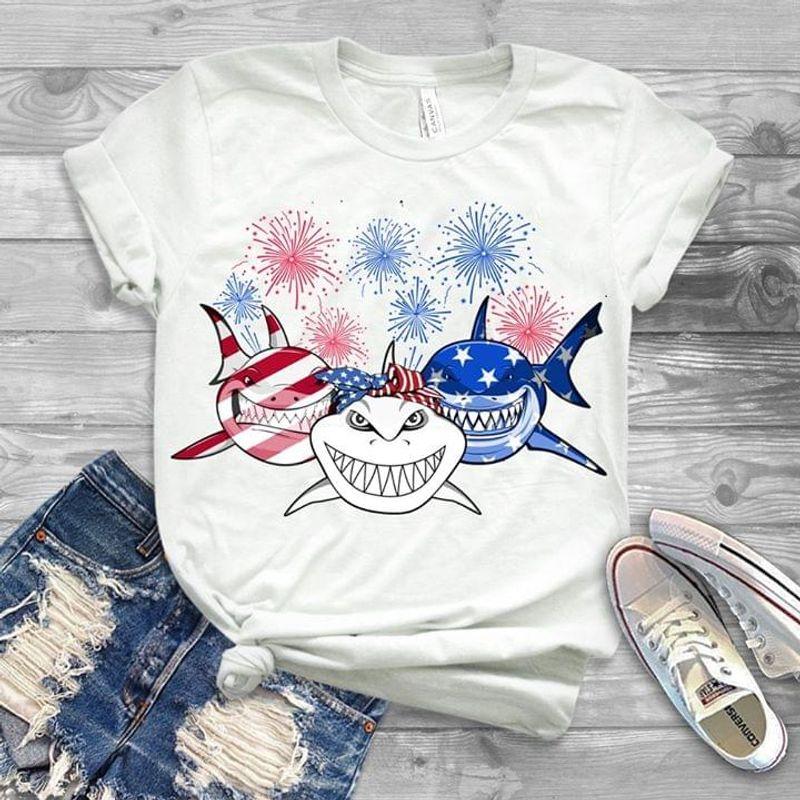 Shark American Flag Fireworks White T Shirt Men/ Woman S-6XL Cotton