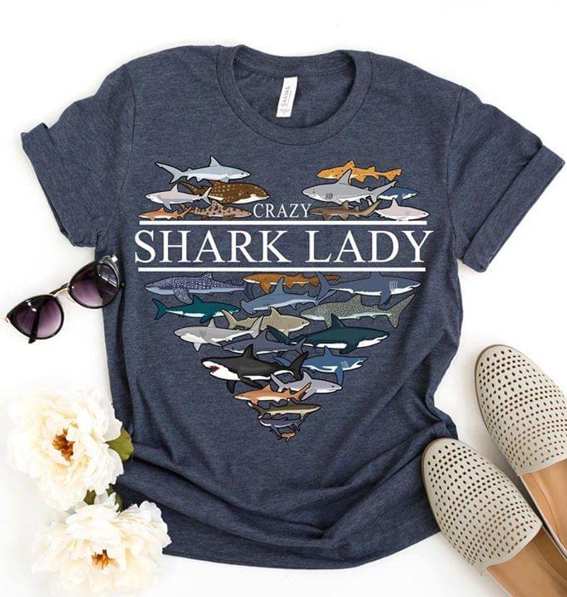 Shark Love Animal Crazy Shark Lady Sport Grey T Shirt Men/ Woman S-6XL Cotton