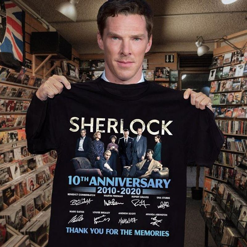 Sherilock Fans 10th Anniversary Thank You For The Memories Signature Black T Shirt Men And Women S-6xl Cotton