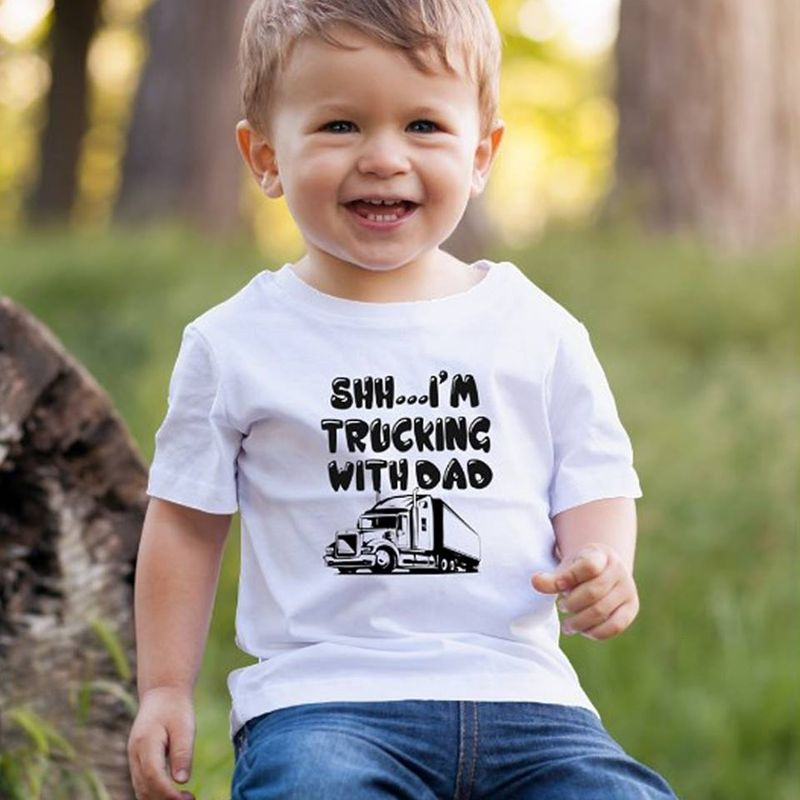 Shh Im Trucking With Dad  T-shirt White A4