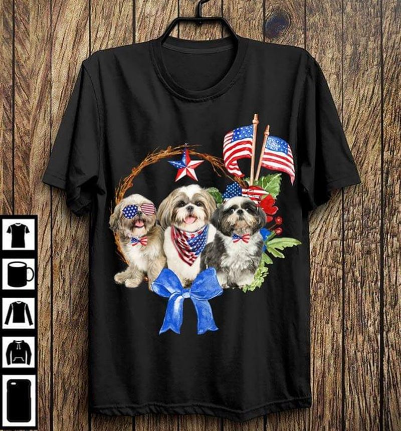 Shi Tzu American Flag Independence Day Happy The Fourth Of July BlackT Shirt Men/ Woman S-6XL Cotton
