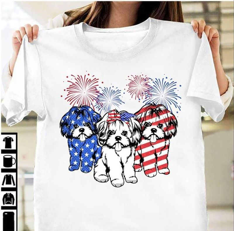 Shih Tzu America Fireworks Independence Day 4th Of July T Shirt S-6XL Men And Women Clothing