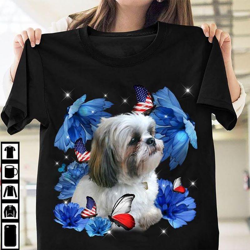Shih Tzu Cute Puppies Butterflies Blue Flowers American Flag BlackT Shirt Men/ Woman S-6XL Cotton
