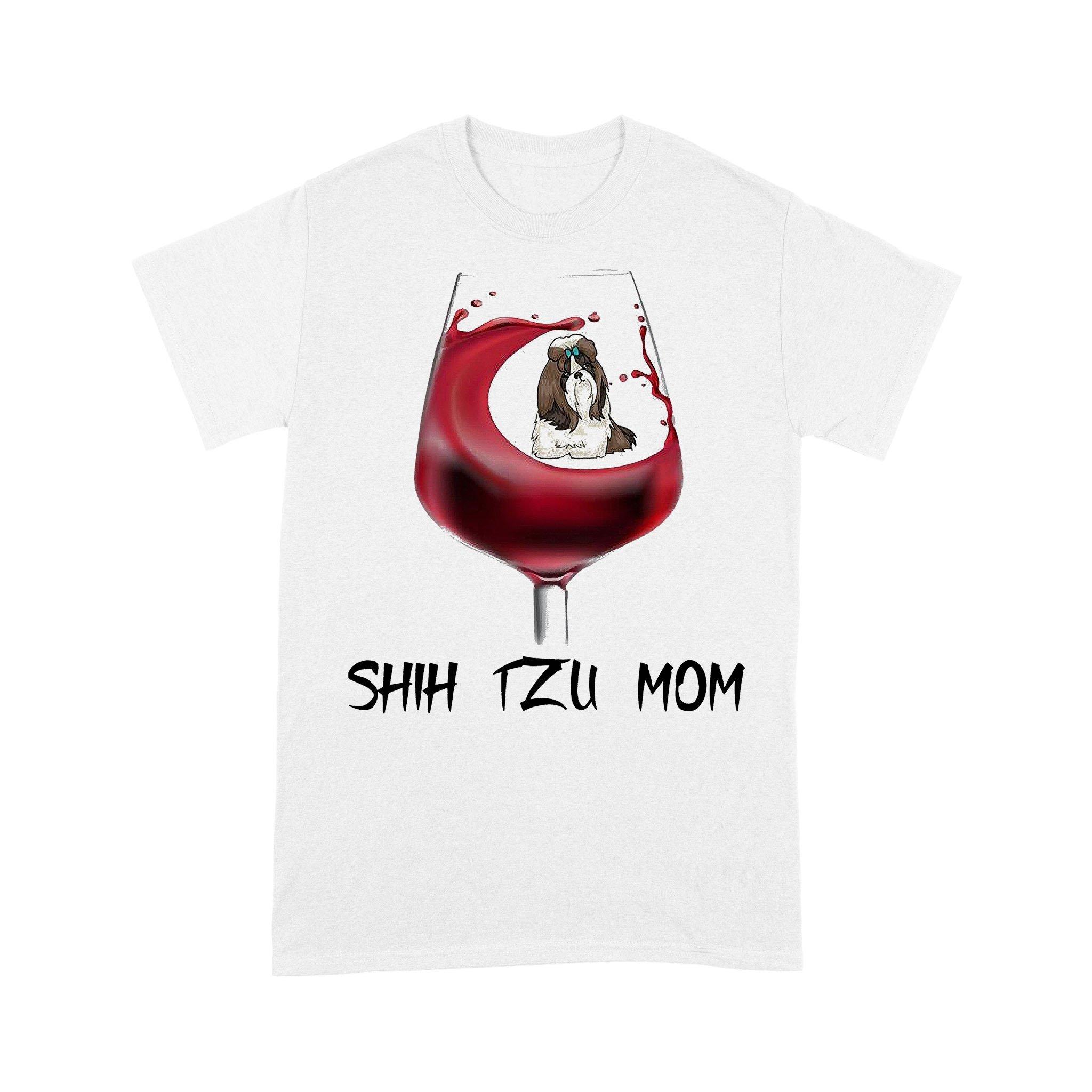 Shih Tzu Mom In Wine T-shirt