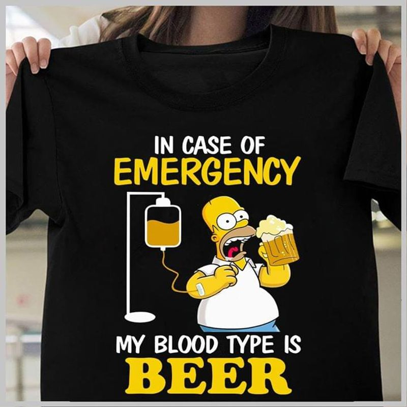 Simpson In Case Of Emergency My Blood Type Is Beer Wearing Go To University Black T Shirt Men And Women S-6XL Cotton