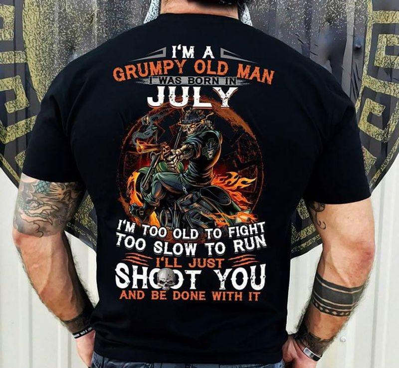 Skeleton Warrior Biker Grumpy Old Man July Black T Shirt Men/ Woman S-6XL Cotton