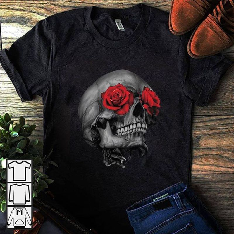 Skull Roses Gift For Skullaholic Exotic Girlfriend Black T Shirt Men And Women S-6XL Cotton