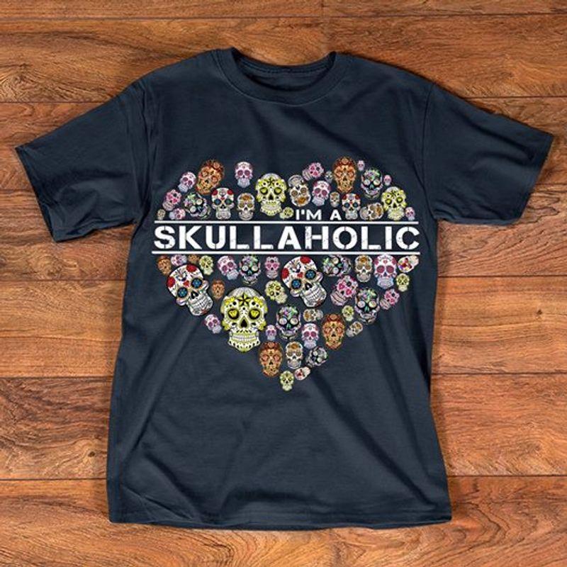 Skullaholic Skulls In Heart  T-Shirt Black B5