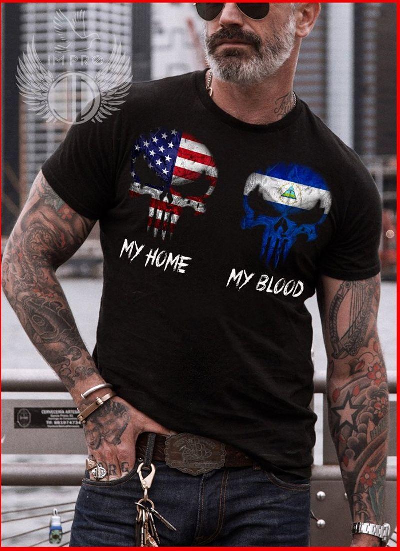 Skulls American & Nicaragua Flag My Home My Blood T Shirt Black C2