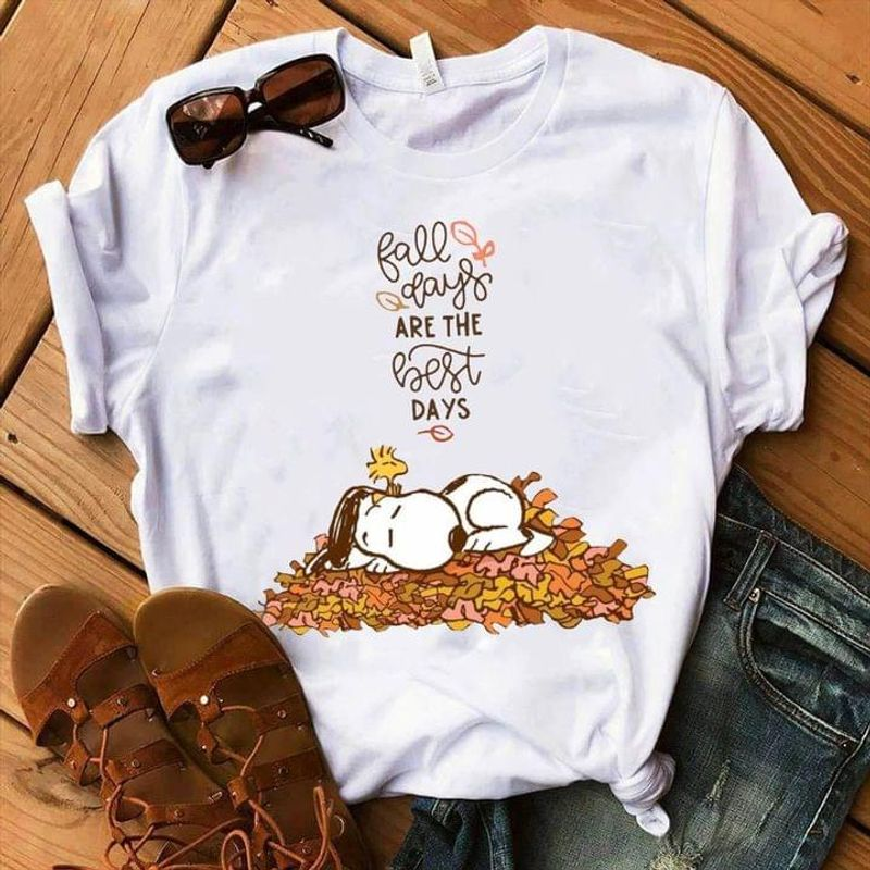 Sleeping Sn00py In Fall Leaves Pile Fall Days Are The Best Days White T Shirt Men And Women S-6XL Cotton