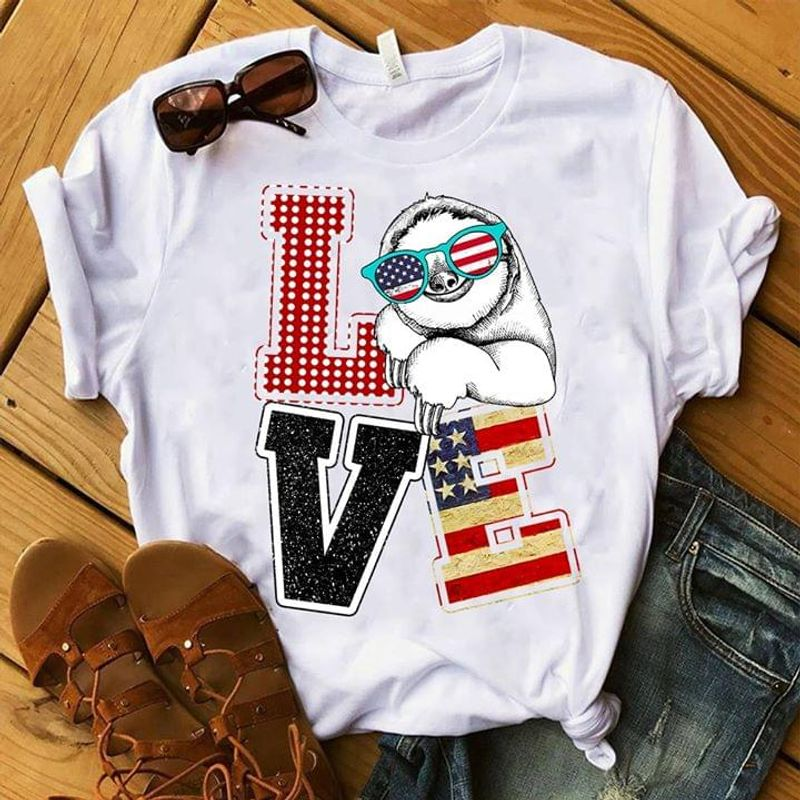 Sloth King Lover Independence Day 4th Of July White T Shirt Men/ Woman S-6XL Cotton