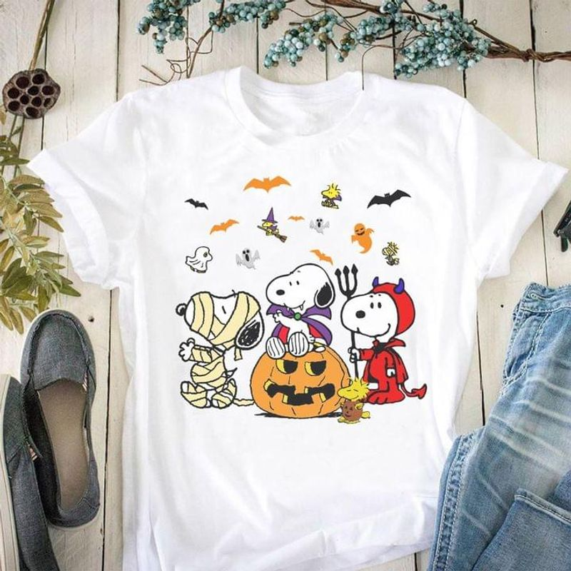Sn00py And Friends Halloween Costume Funny T-shirt Halloween Gift Ideal White T Shirt Men And Women S-6XL Cotton