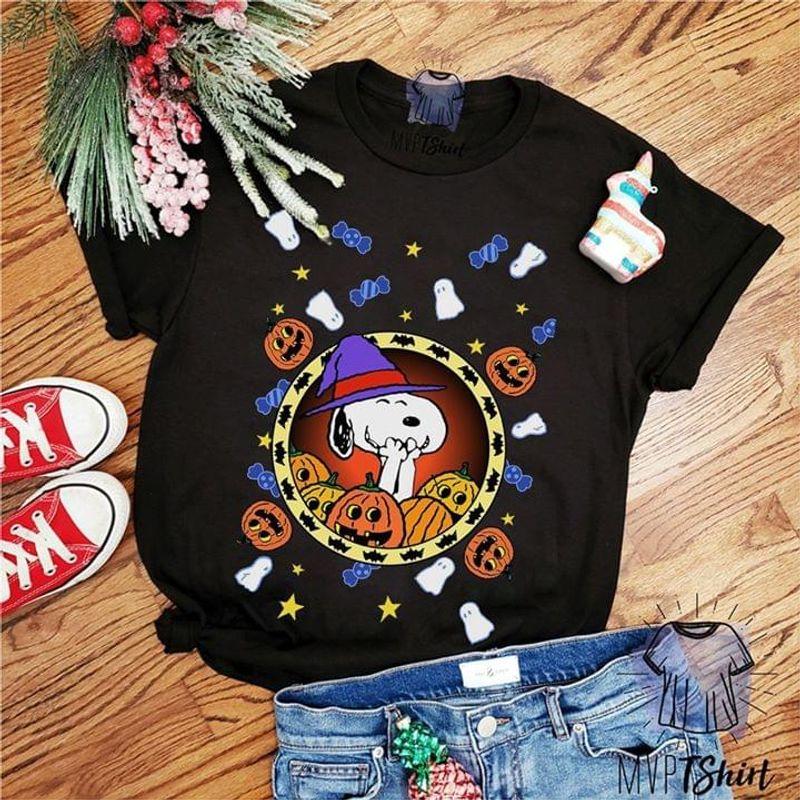 Sn00py Fans Funny Snoopy Cartoon  Halloween Black T Shirt Men And Women S-6XL Cotton