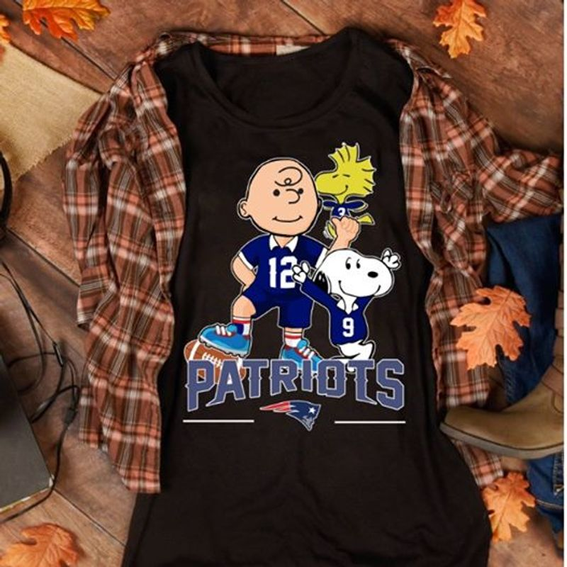 Snoopy And Charlie Brown Patriots  T Shirt Black B7