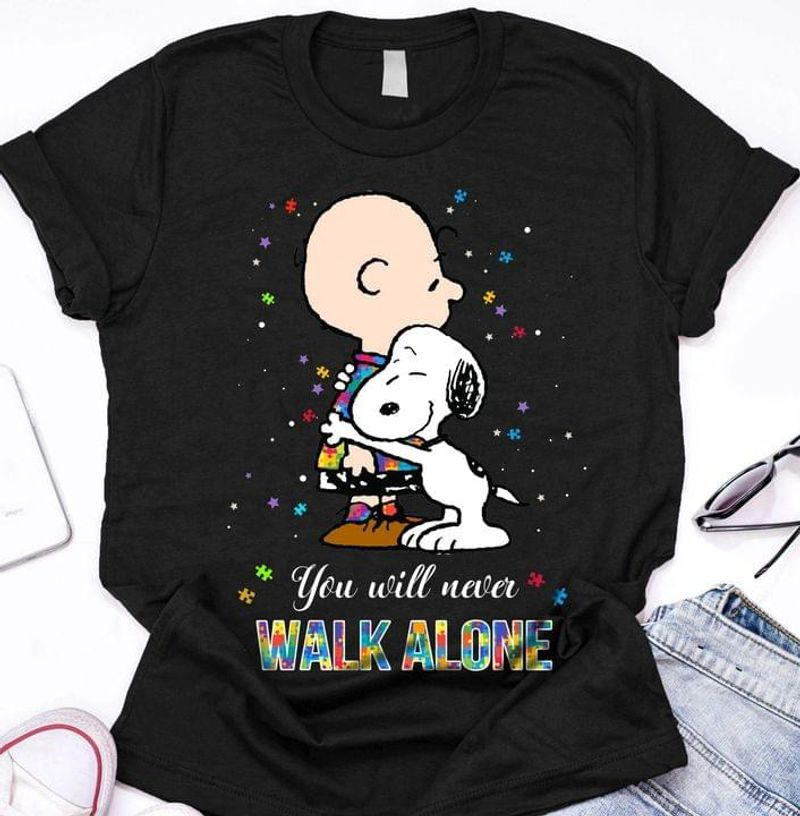Snoopy And Charlie Brown Shirt You Will Never Walk Alone Gift For Fans Ww Black T Shirt Men And Women S-6XL Cotton