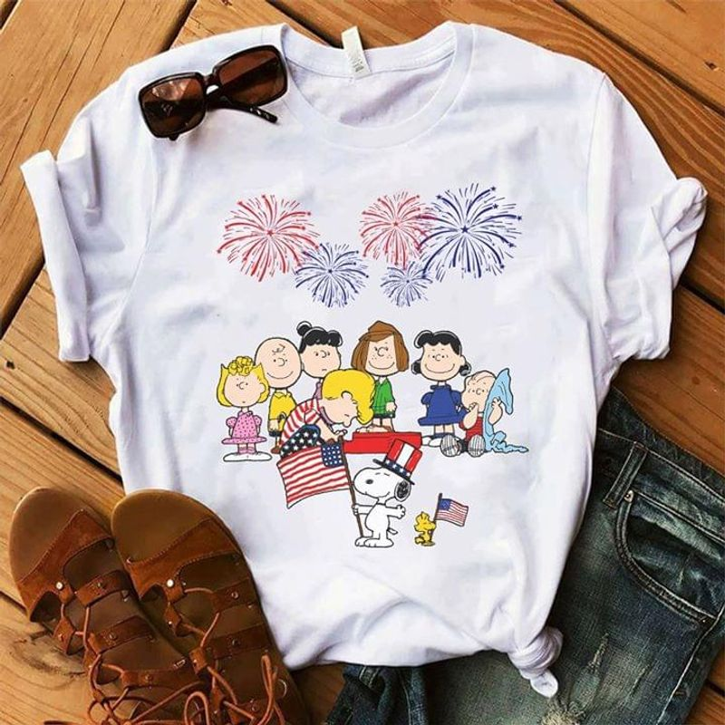 Snoopy And Friends Happy Independence Day 4th Of July White T Shirt Men/ Woman S-6XL Cotton