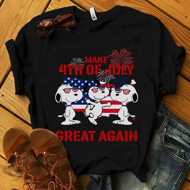 Snoopy And Friends Make 4th Of July Great Again Black T Shirt Men/ Woman S-6XL Cotton