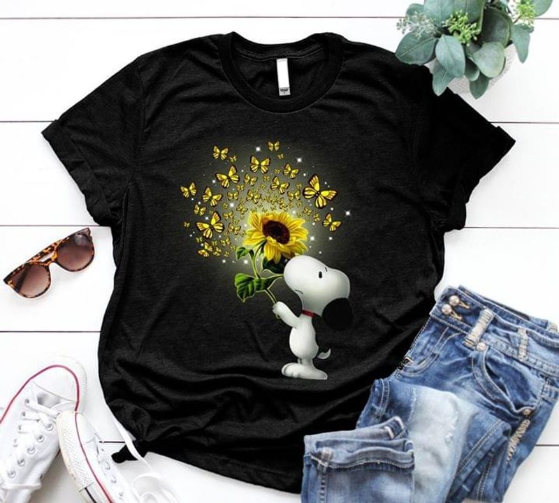 Snoopy And Sunflower Black T Shirt Men/ Woman S-6XL Cotton