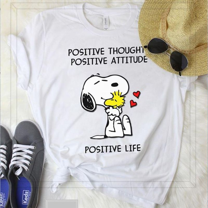 Snoopy And Woodstock Shirt Positive Thought Attitude Life White T Shirt Men And Women S-6XL Cotton