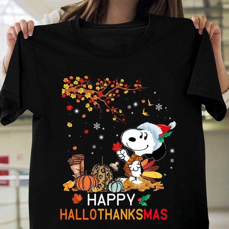 Snoopy Autumn Happy Hallothanksmas Perfect Gift For Holiday Black T Shirt Men And Women S-6XL Cotton