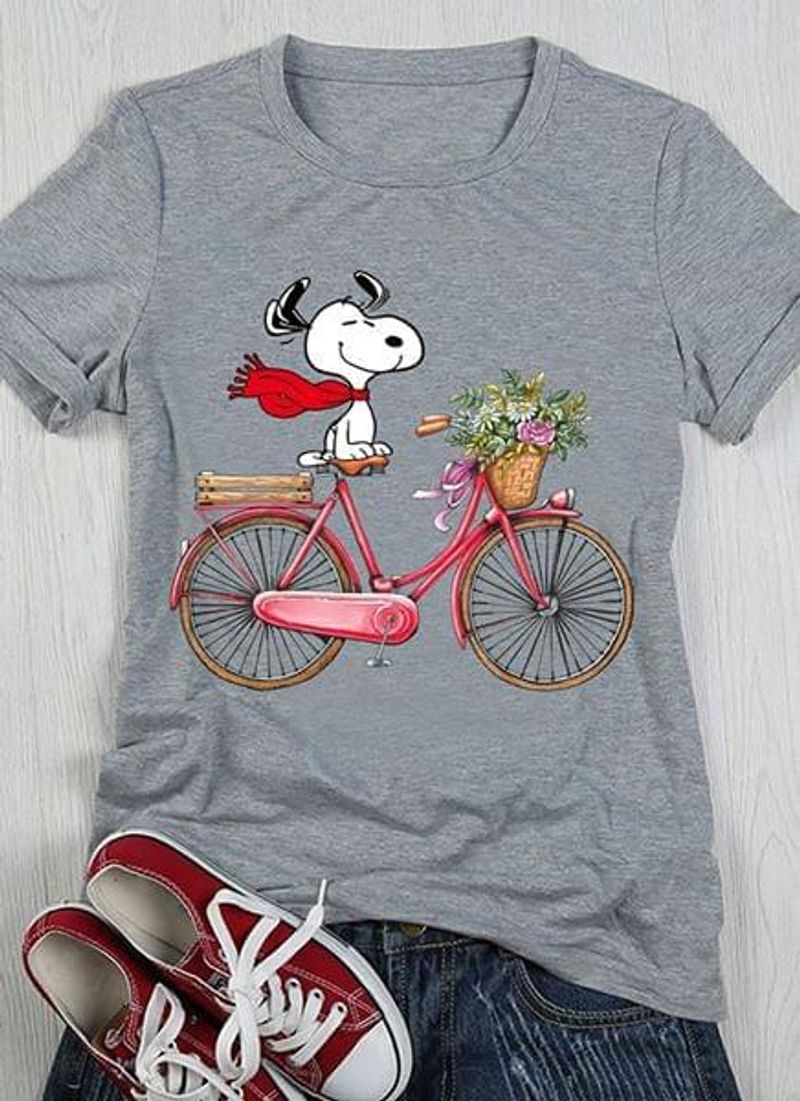 Snoopy Bicycle Flowers Cute Design For People Loves Snoopy Movies Dark Heather T  T Shirt Men/ Woman S-6XL Cotton Men/ Woman S-6XL Cotton