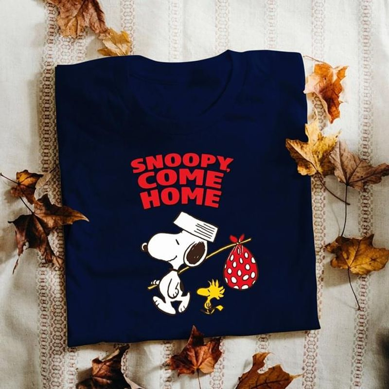 Snoopy Come Home Snoopy And Woodstock Perfect Gift For Fans Navy T Shirt Men And Women S-6XL Cotton
