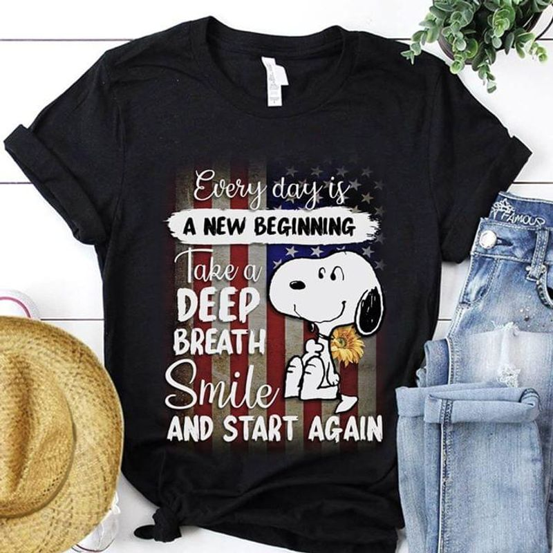Snoopy Every Day Is A New Beginning Take A Deep Breath Smile US Flag Independence Day Black T Shirt Men/ Woman S-6XL Cotton