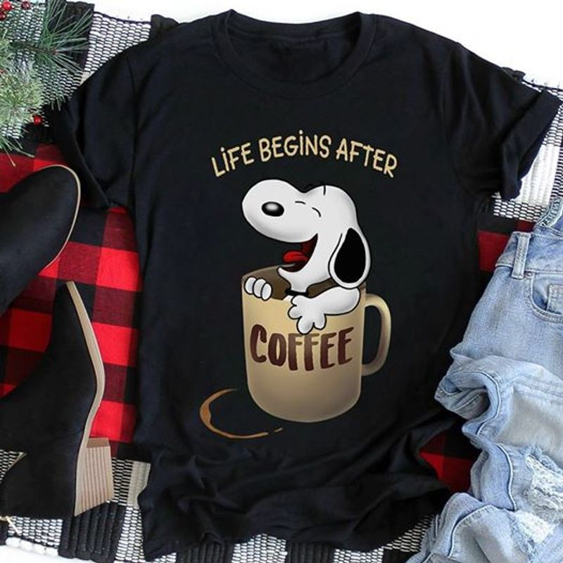 Snoopy In Mug Coffee Life Begins After  T-shirt Black A5