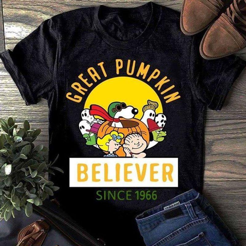 Snoopy Lover Great Pumpkin Believer Since 1966 Black T Shirt Men/ Woman S-6XL Cotton