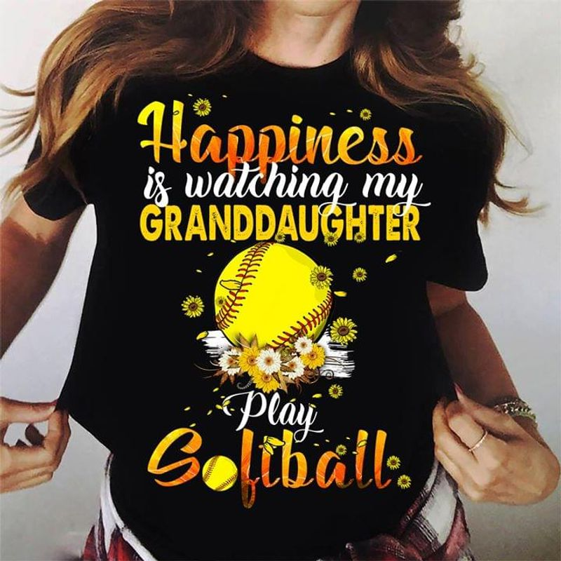 Softball Lovers Happiness Is Watching My Granddaughter Play Solfball Family Gift Black T Shirt Men/ Woman S-6XL Cotton