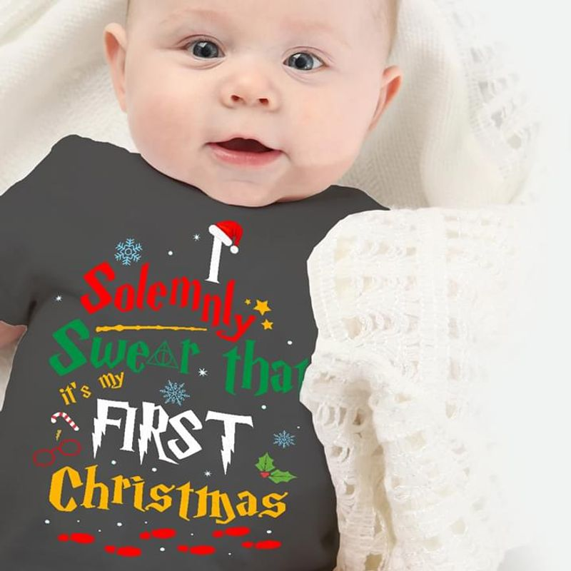 Solemnly Swear That First Christmas Quote Xmas Christmas Gift Idea Black T Shirt Men And Women S-6XL Cotton