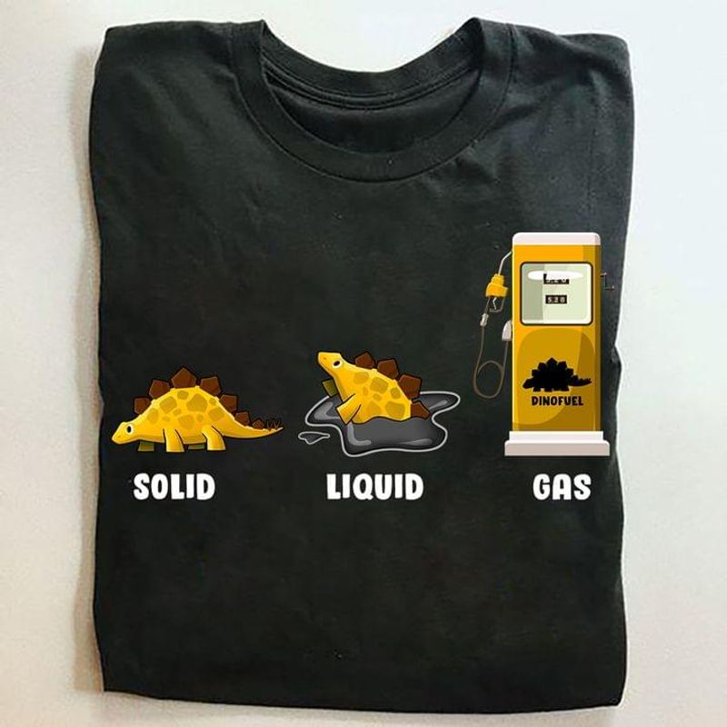 Solid Liquid Gas T Shirt Funny Cartoon Dinosaur Printing Black T Shirt Men And Women S-6XL Cotton