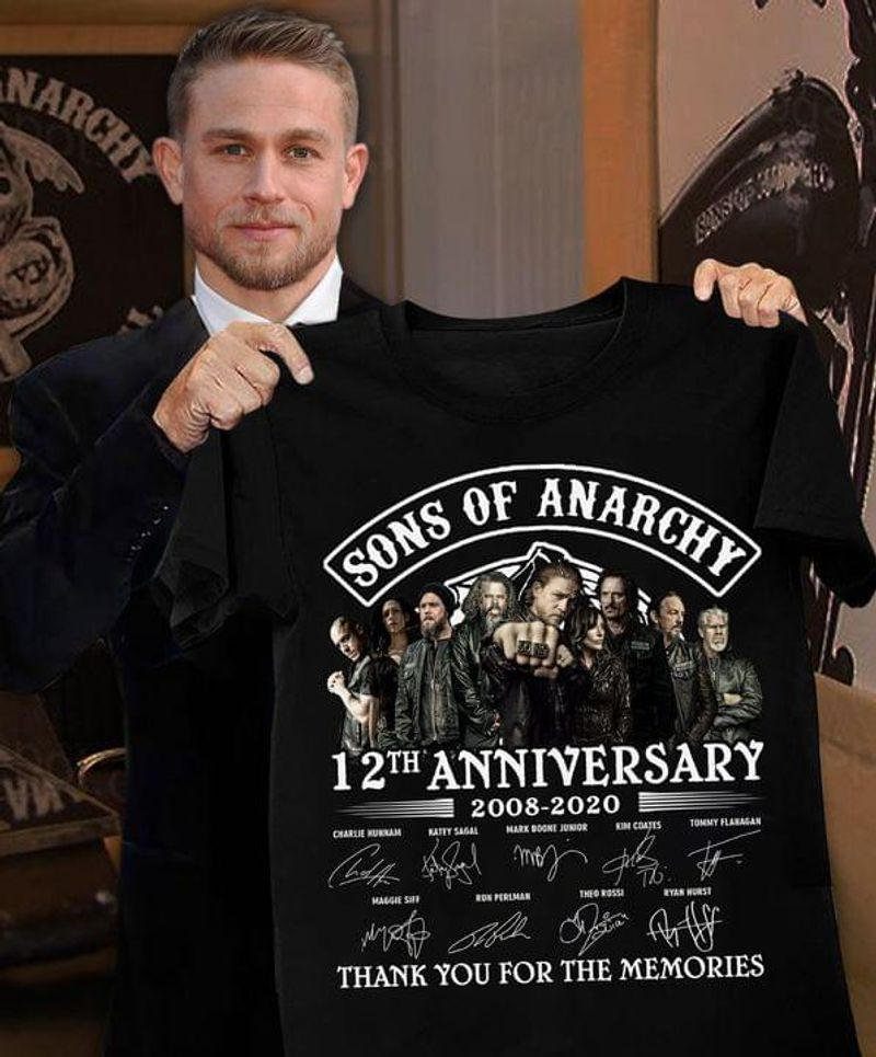 Sons Of Anarchy 12th Anniversary Signatures Thank You For The Memories Black T Shirt Men And Women S-6XL Cotton